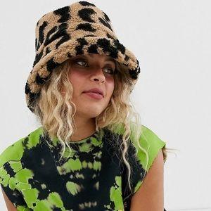 ASOS leopard borg roll back bucket hat